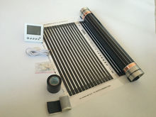 3 square meters 50 cm*6 m infrared heating film with thermostat and clamps (8pcs) and insulating daub and black tap(China)