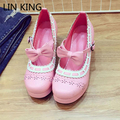 LIN KING New Fashion Women Pumps Thick Square High Heel Round Toe Solid Lolita Shoes PU Bowtie Lace Sweet Platform Shoes
