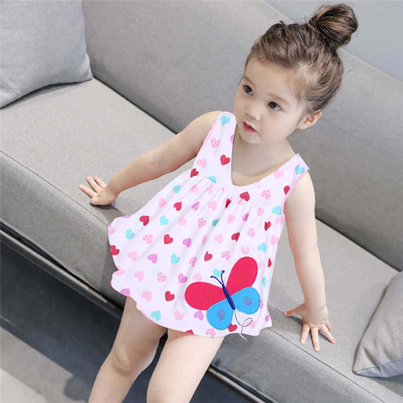 Cute Baby Girl Clothes Girls Dress Animal Baby Girls Sleeveless Birthday Party Princess Dresses Children Fancy Dot Kids Dress