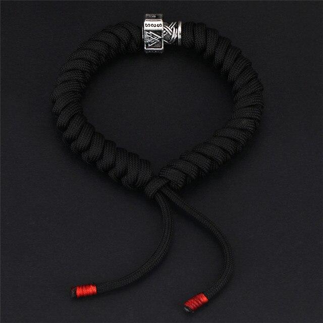 Viking Runes Celtics Beads Black Seven-Core Bracelet