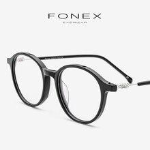 Acetate Eyeglasses Frame Women Vintage Round Myopia Prescription Glasses Optical Men Retro Spectacles Screwless Eyewear 5202