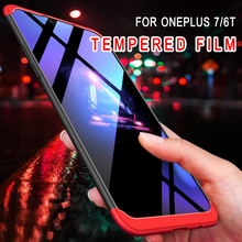 For OnePlus 7/6T 3 In 1 Full Body Protective CaseTempered Glass Screen Protector Anti Drop Back Cover + Tempered Film