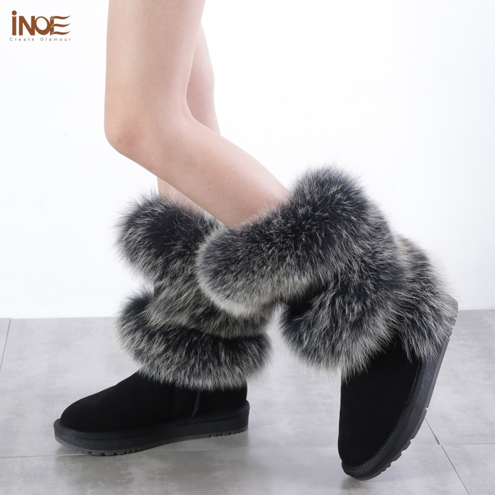INOE Luxurious blue fox fur women winter snow boots round toe flats rubble sole cow suede leather women winter shoes black greyINOE Luxurious blue fox fur women winter snow boots round toe flats rubble sole cow suede leather women winter shoes black grey