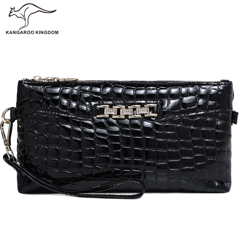 Kangaroo Kingdom Luxury Brand Women Bag Patent Leather Lady Envelope Clutch Bag Small Shoulder Messenger Bags cowhide genuine leather diamonds lady hand bag small shoulder envelope messenger women clutch bag luxury banquet lady chain bags