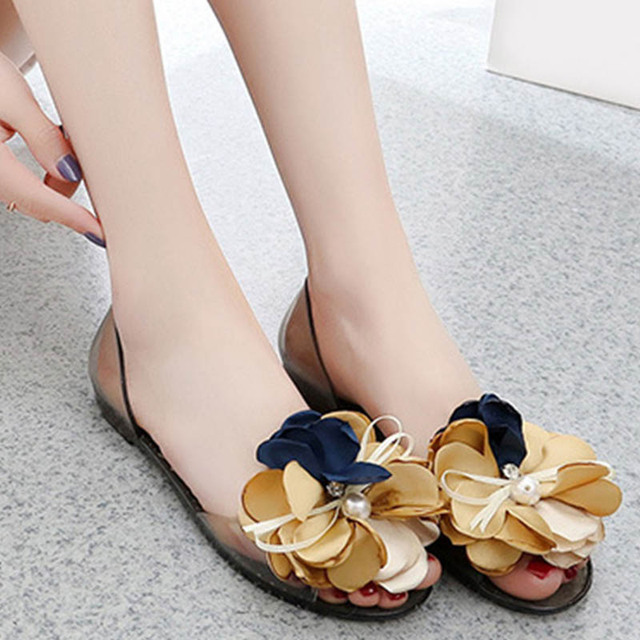 489efe058 Women s Summer Bowtie Flower Pearl Flat Jelly Shoes Ladies Casual  Transparent Slip On Peep Toe Sandals