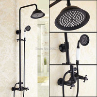Free shipping Vintage Oil Rubbed Bronze Bath Faucet With Rainfall Shower Head Bathroom Wall Mount Blackened Shower Set New GI272