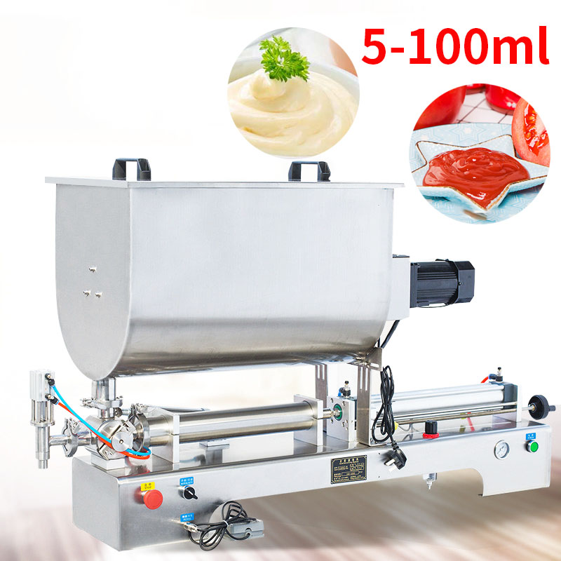 5-100ml Horizontal Pneumatic Stirring Function Chili Sauce Sesame Paste Sauce Filling Machine