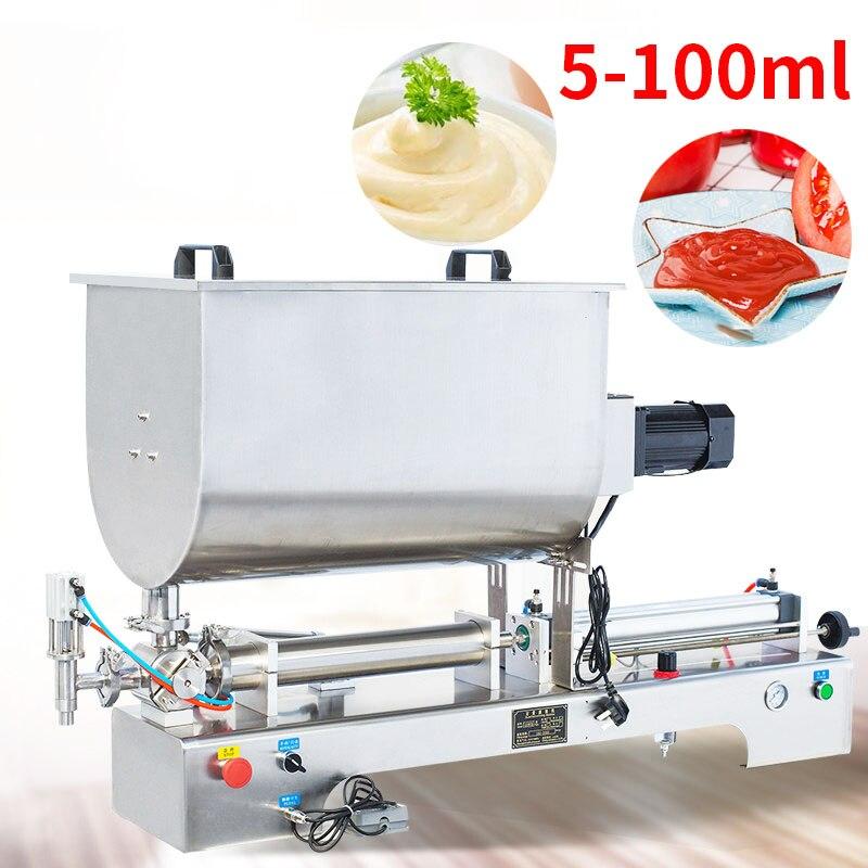Fonction d'agitation pneumatique horizontale 5-100ml Sauce au Chili Machine de remplissage de Sauce au sésame