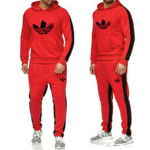 2019 sports suit mens loose sportswear spring and autumn fitness running warm