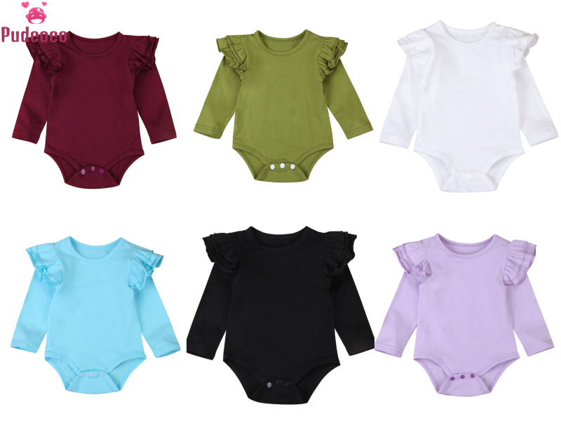 8 Colors Solid Ruffles Cotton Baby   Romper   Onesie New Born Infant Baby Girls Boys Long Sleeve Outfits Jumpsuit Clothes 3M-2T