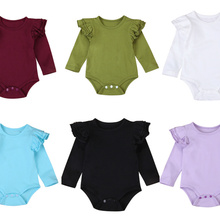 8 Colors Solid Ruffles Cotton Baby Romper Onesie New Born Infant Baby