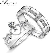 ANENJERY 925 srebro srebrne wesele pierścionki korona krzyż kryształ CZ pierścienie otwierające Anel walentynki bague femme S-R21