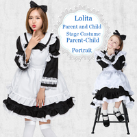 Classic Black and White Woman GirlMaid Animation Costume Lolita parents Children Costume with Headwear,Bow, Sleeve and Apron