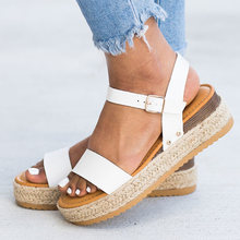 Women Sandals Ankle Strap Platform Sandals With 5CM Wedges Shoes Soft Leather Summer Shoes Casual Heels Sandals Caussures Fmme(China)