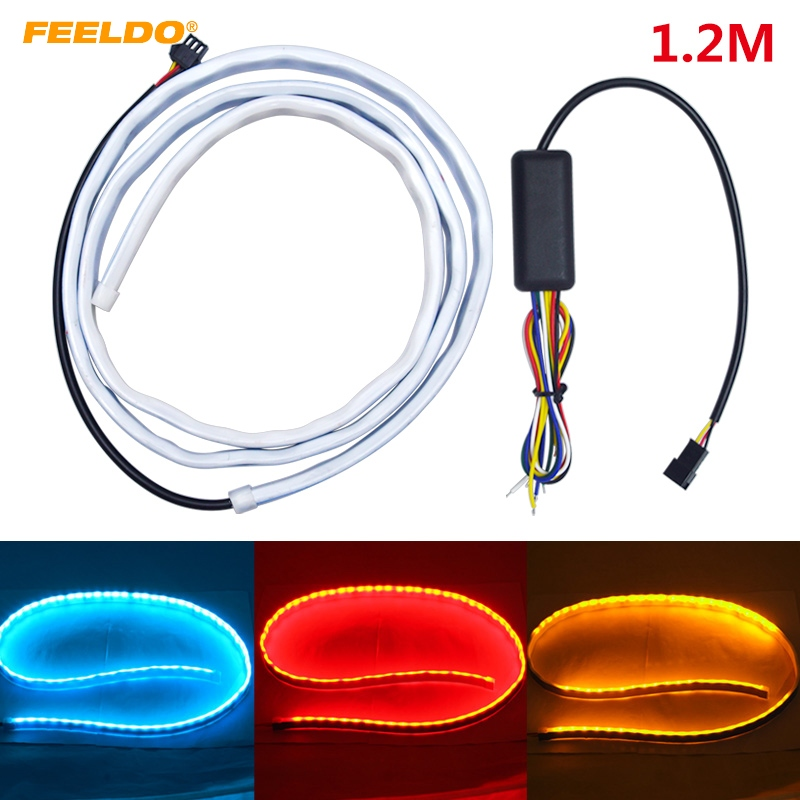 FEELDO 5Set 3 Color 1.2m Car Rear Tail Box Light Streamer Brake Turn Signal LED Strip DRL Light Tail Decoration Accessories
