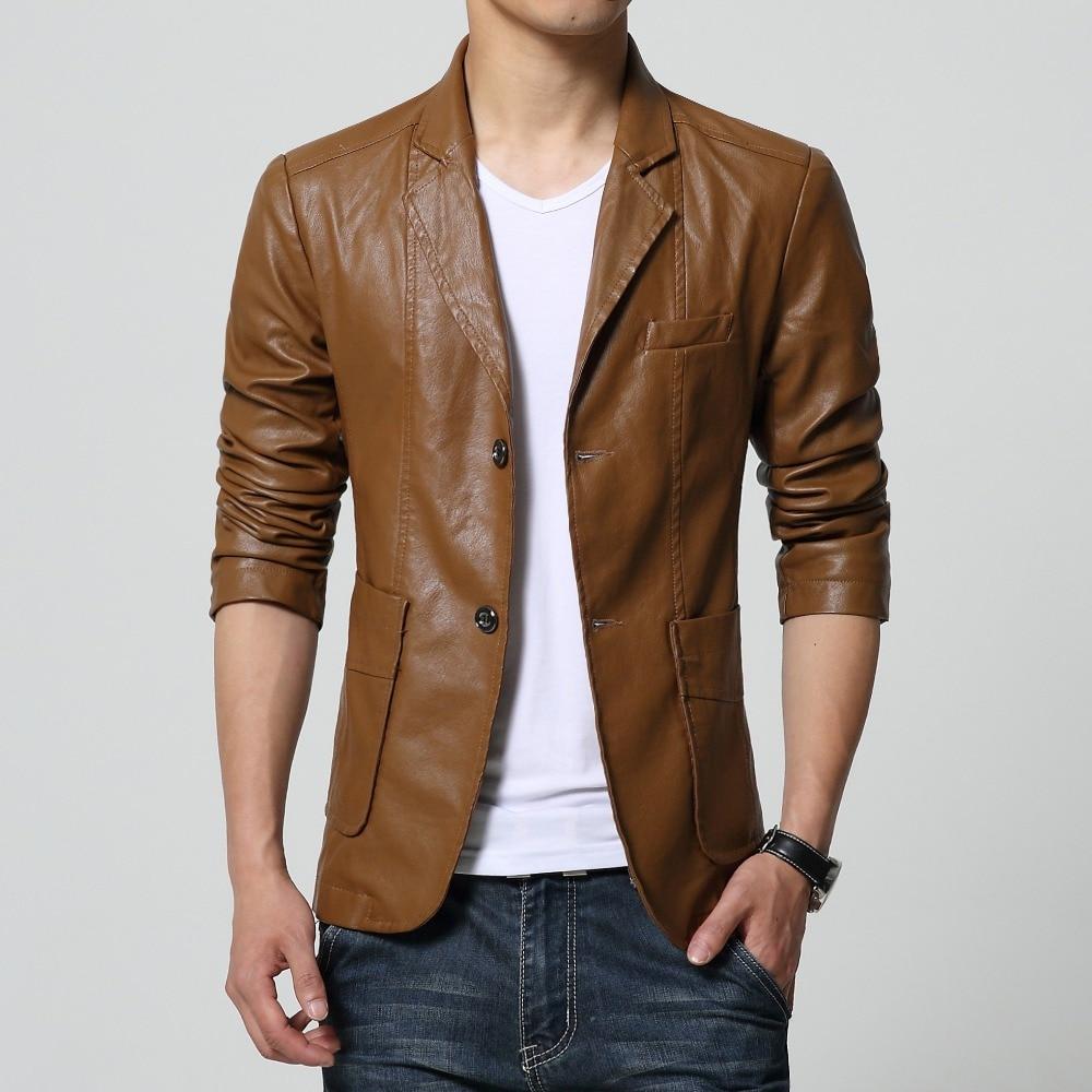 2019 yeni varış blazer erkekler PU faux deri İnce coat marka deri - Erkek Giyim - Fotoğraf 2