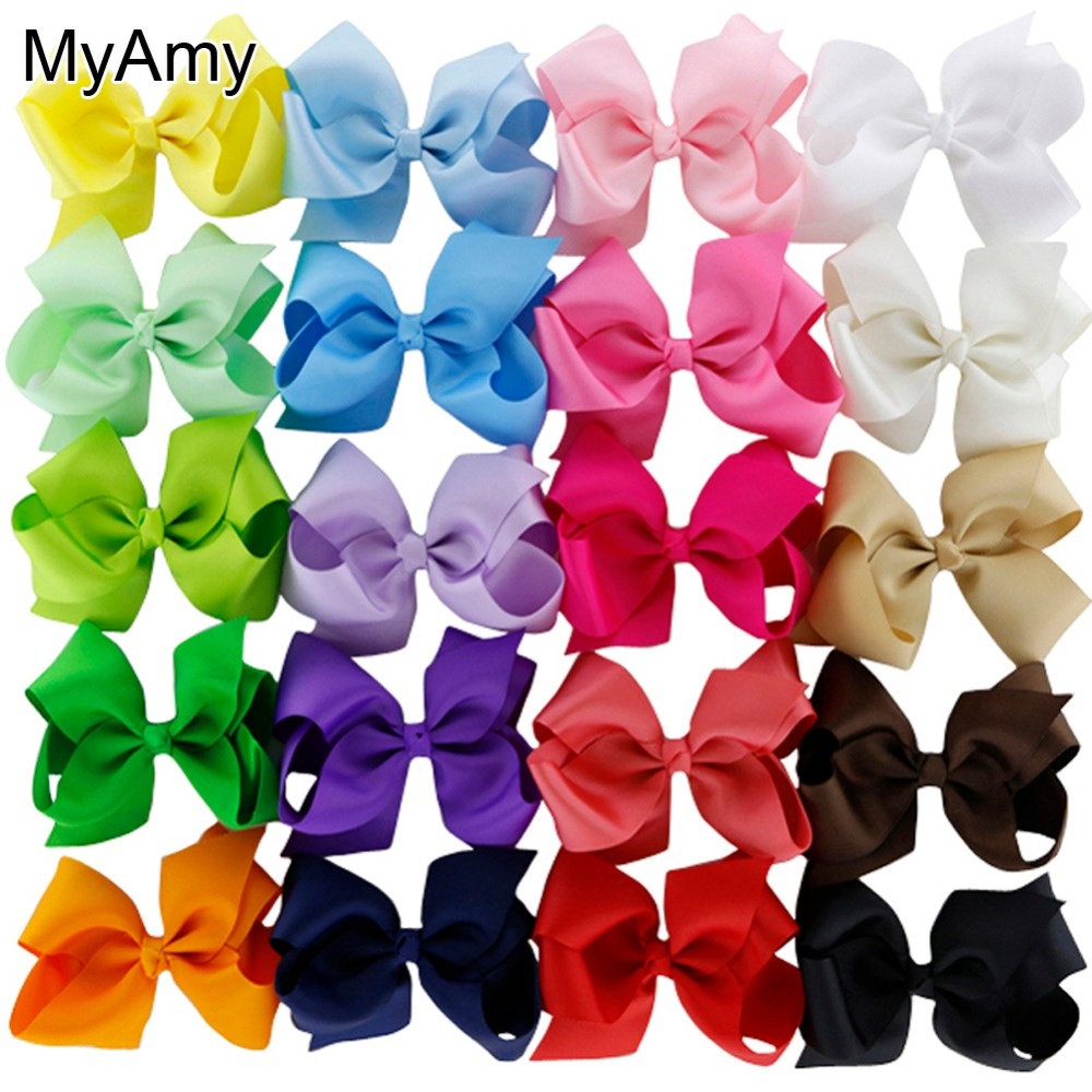 цена на MyAmy 40pcs/lot 4.5'' boutique hair bows grosgrain ribbon bow WITH alligator clip for baby girls children kids teens toddler