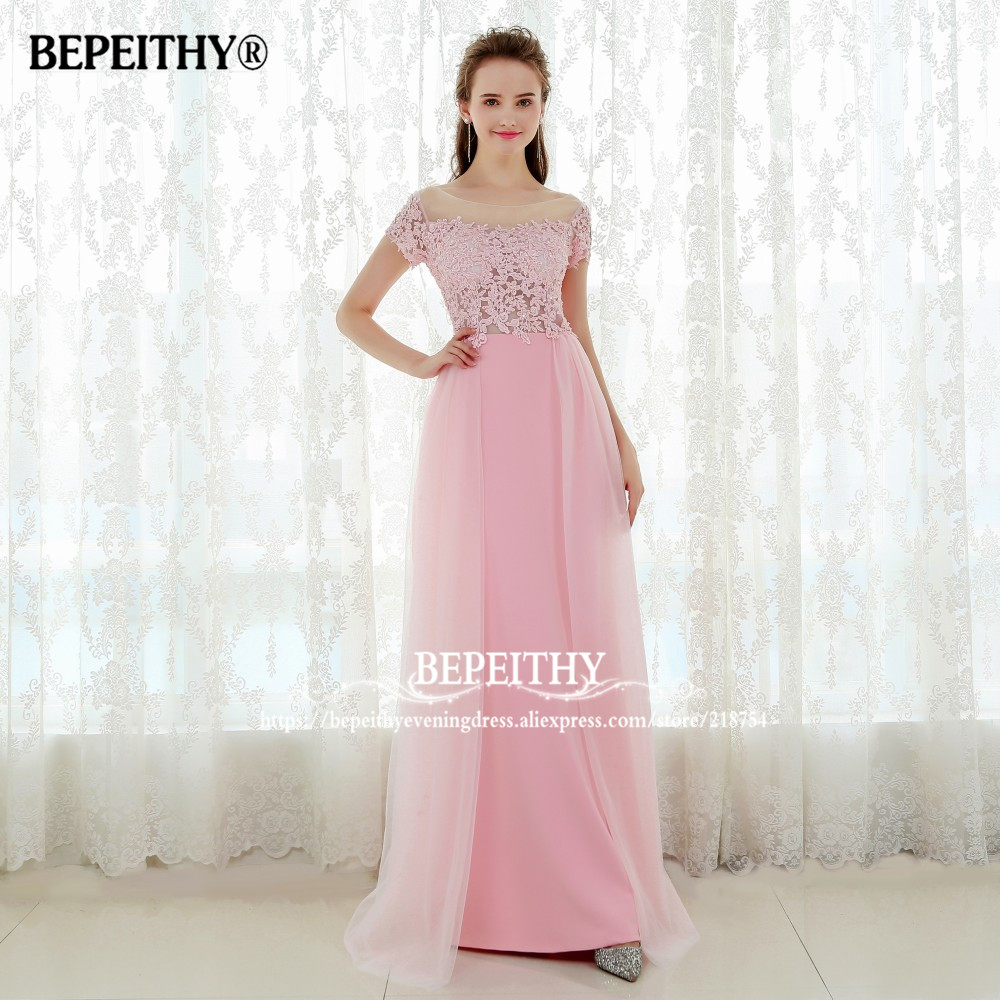 276981ce6 Vestido De Festa Short Sleeves Long Prom Dresses Pink Sexy Evening Dress  Party Elegant Vestido Longo 2019-in Prom Dresses from Weddings   Events on  ...