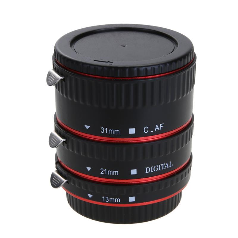 Alloet Cámara Adaptadores para objetivos auto focus AF macro extensión tubo/anillo para Canon lente Canon EOS EF s 60d 7d 5d II 550d rojo