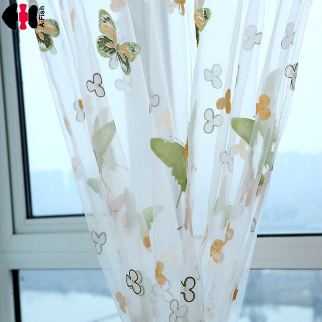 Colorful Cheap Curtains Sale Butterfly Curtains Transparent Tulle Curtains  Butterflies Children Room Cortina Persiana P174B