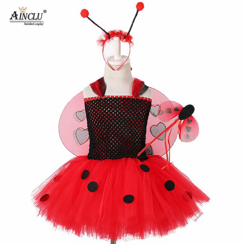 Lady Bug Red Dot birthday Party Dress Hair Wings Costume Kids Girls Dress Miraculous Ladybug Halloween Cosplay Dress 1-12Y