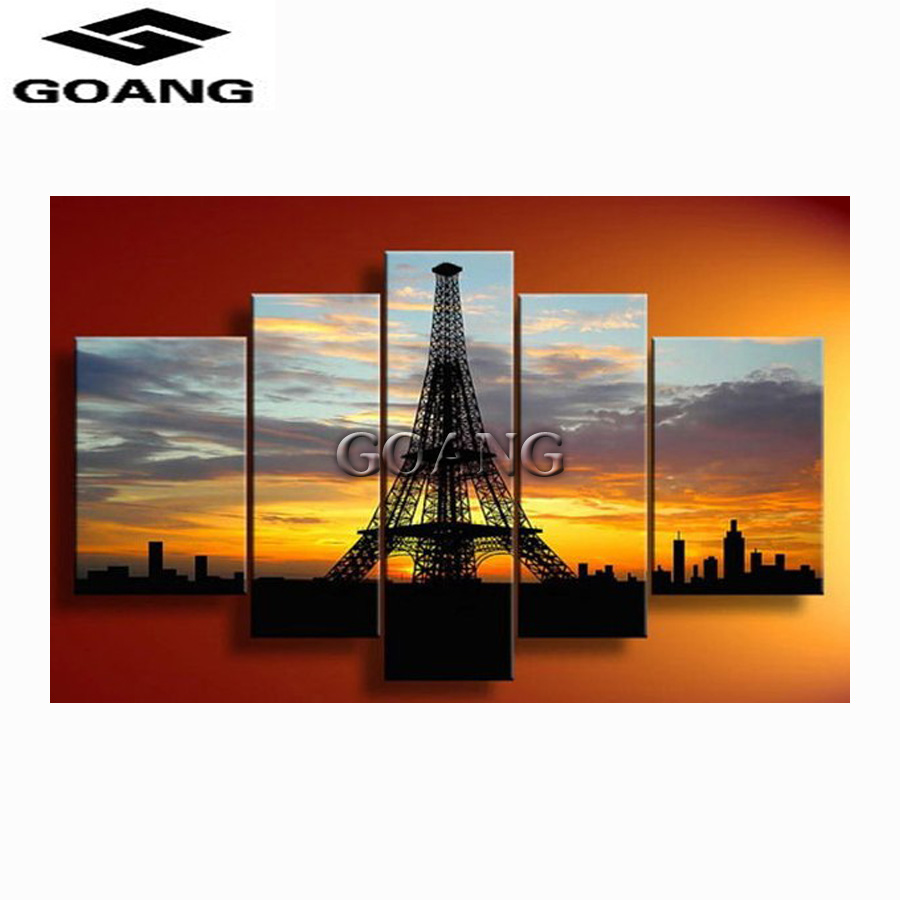 GOANG 5pcs crystal diamond 5D DIY Diamond Painting Eiffel Tower Embroidery Cross Stitch Rhinestone Mosaic Painting Decor Gift