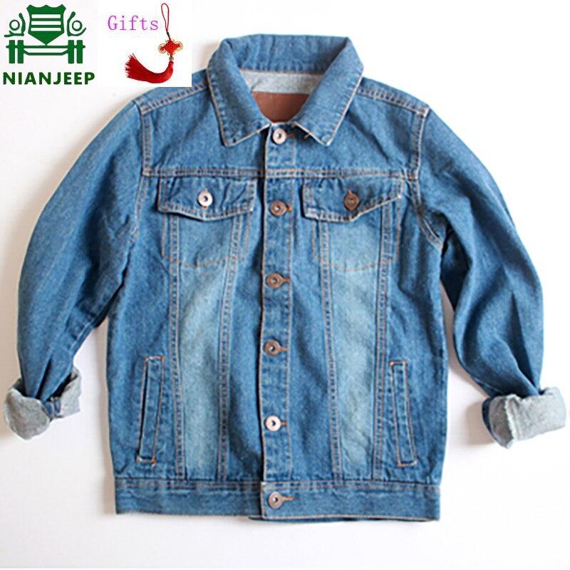 NIANJEEP Denim veste classique bleu solide mode coton hommes jean veste hommes Outwear mâle Cowboy vêtements homme marque vêtements