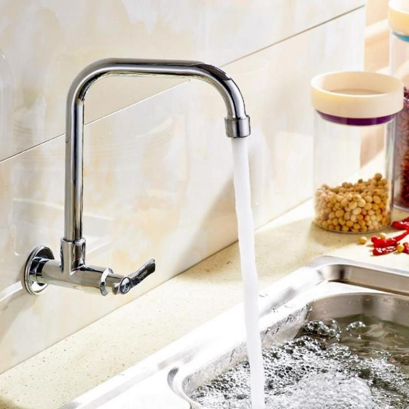 Wall Mount Kitchen 360 Rotating Swivel Basin Sink Faucet Single Handle Cold Tap