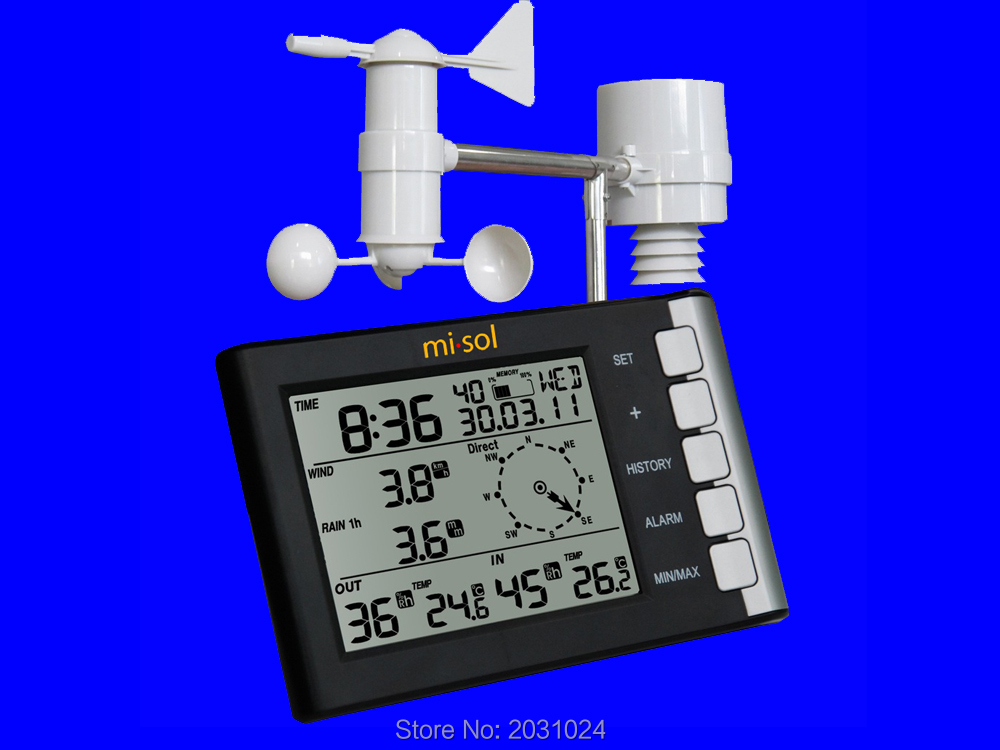 professional weather station wind speed wind direction temperature humidity rain 433Mhz turbulence effect on wind rain station