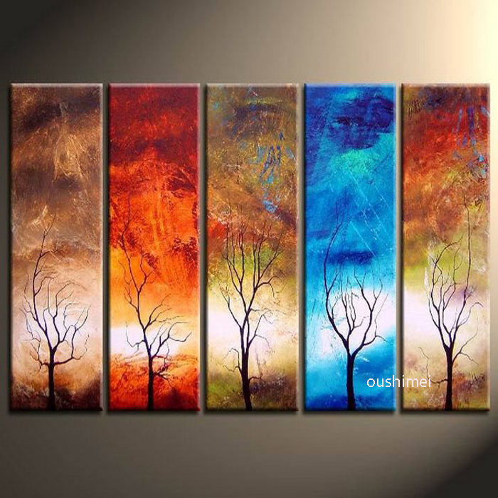 Hand painted 5 panels free shipping landscape wall for Do it yourself decorative wall painting