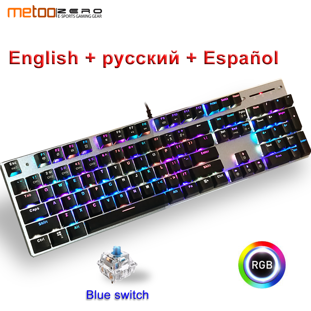 Metoo Genuine Mechanical Keyboard RGB Mix lights Backlight 104 key blue Switch USB Wired LED Backlight Gaming Keyboard for GamerMetoo Genuine Mechanical Keyboard RGB Mix lights Backlight 104 key blue Switch USB Wired LED Backlight Gaming Keyboard for Gamer