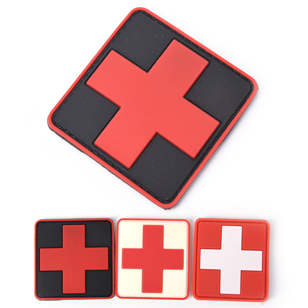 1PCS 6cm x 6cm PVC Rubber Medic Paramedic Tactical Army Badge 3D Red Cross Flag of Switzerland Swiss Cross Patch(China)