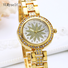 2019 new wrist band watch crystal ladies trendy metal top brand luxury white & gold color quartz womens watches