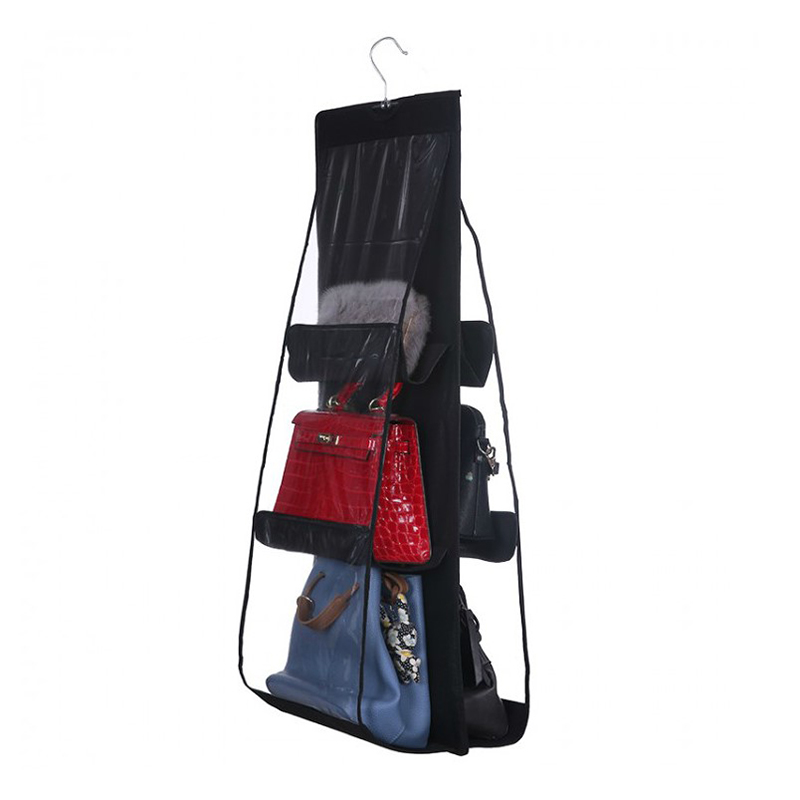 Thicken Non-Woven Fabric Hanging Handbag Organizers Transparent Organizer Hang Pocket Multifunction Dust Protect Storage Cover