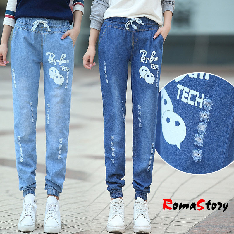 Girls 2016 Harlan jeans female pattern printing elastic waist lace trousers tide beam foot women casual wild jeans S2409