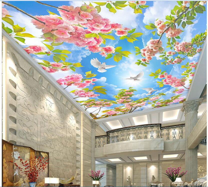 Custom photo 3d ceiling murals wallpaper Non-woven Flowers blue sky dove room painting 3d wall murals wallpaper for walls 3d wlxy 11 in 1 telecommunications maintenance diagnostic tools set ns 468 cable tester 3 way crimper tool cable stripper
