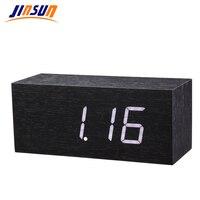 JINSUN Modern Sensor Wooden Clock Led Digital Alarm Clock Show Temp Voice Control Reloj Despertador Table Clock Wekker KSW106 BK