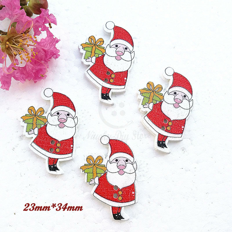 Objective 50pcs Christmas Holiday Wooden Collection Snowflakes Buttons Snowflakes Embellishments 18mm Creative Decoration Home & Garden