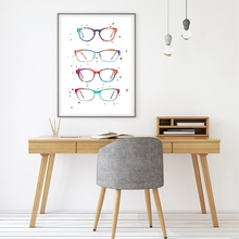 все цены на Watercolor Optometry Art Painting Wall Picture , Modern Glasses Canvas Art Prints And Poster Ophthalmology Gift Wall Decor онлайн
