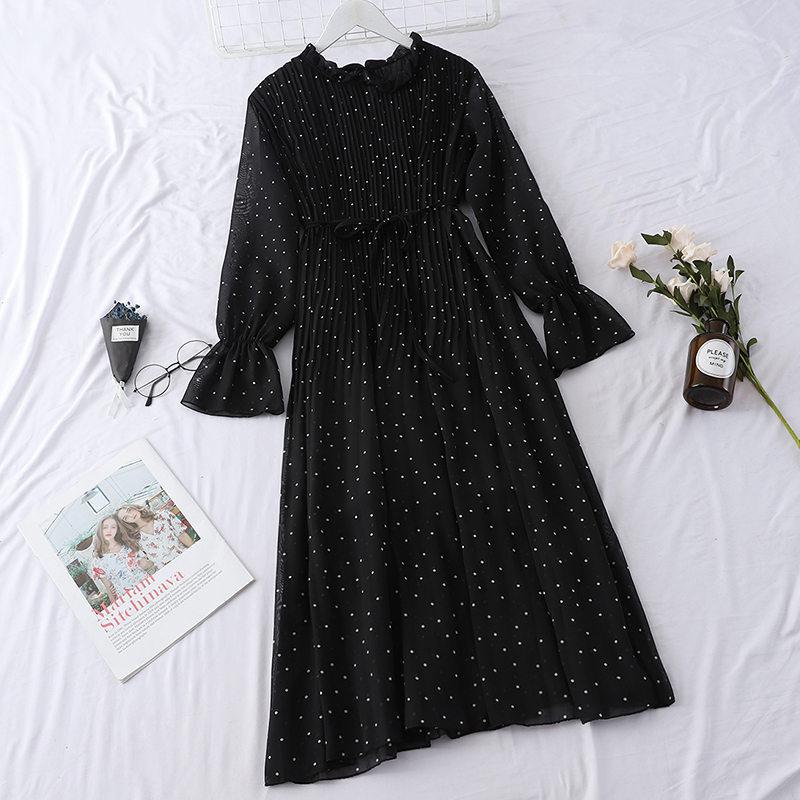 LUOSHA Women 2019 Spring Summer Vintage Stand Collar Polka Dot Flare Sleeve Pleated Loose Casual Dress Female Basic Vestios 6
