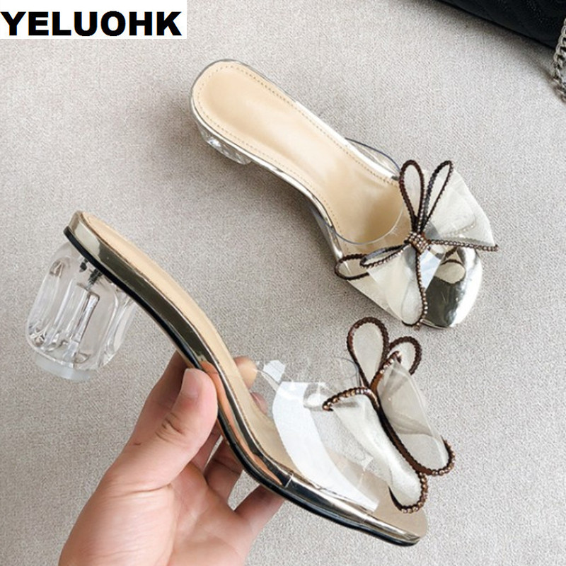 Butterfly Knot Transparent Sandals Women High Heels Perspex Heels Women Slides Summer Shoes Pumps Clear Heels Ladies Shoes