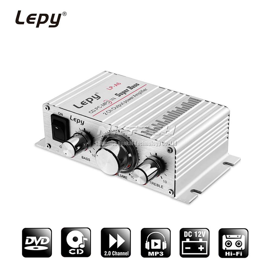 Lepy LP-A6 MINI Power Amplifier Digital Player 2CH HiFi Stereo Audio Car Home For Mobile Phone MP3 MP4 PC Support Volume Control