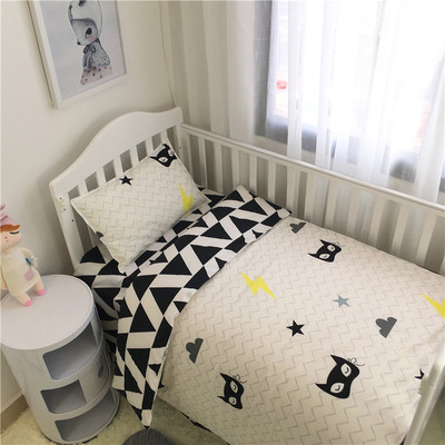 black white star stripe crib bed 100% cottotton 3pcs baby Bedding set include pillow case+bed sheet+duvet cover without filling простынь swaddledesigns fitted crib sheet turquoise stripe