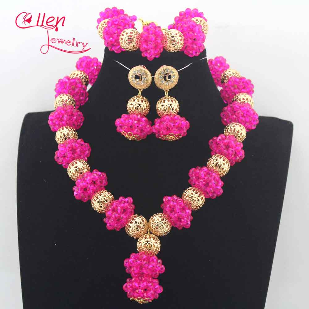 Fuchsia Pink Wedding Beads Jewelry Set Chunky Bridal Crystal Necklace  Earrings Set Dubai Gold Women Costume