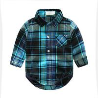 2pcs Set Spring Autumn Baby Boy Long Sleeve Plaid Shirt Romper Denim Jeans Pants Toddler Kids