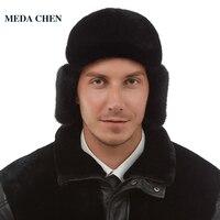 Male hat Genuine Leather hat Fashion leather Fur hat Top grade Mink fur hat Top Grade winter Black Weatherization