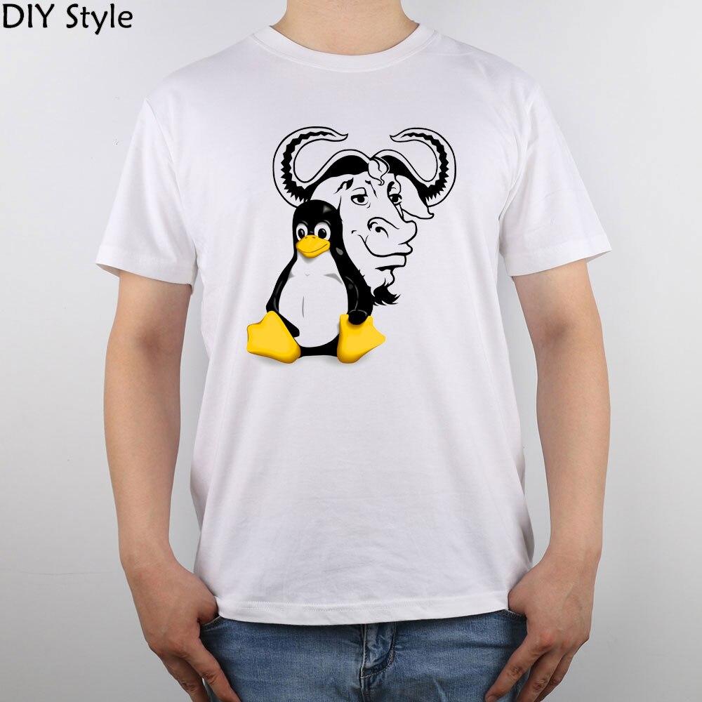 Gnu Linux Logo Penguin Redhat Opensuse Tux Server Ubuntu t-shirt Top Pure Cotton Men T Shirt
