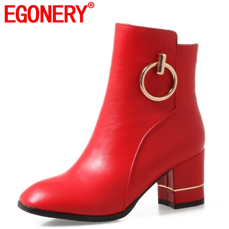 egonery Elegant classic booties soft leather women shoes 2019 red white high heels Spring winter plush