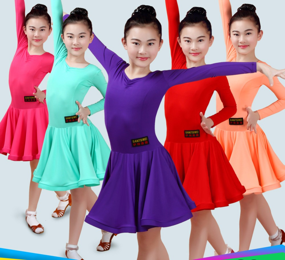 2017 Girl Latin Dance Dress 3color Blue Rose Showing Girl Gypsy Skirts Indian Costumes For Kids
