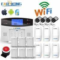 Wifi GSM PSTN System alarmowy bezprzewodowe i przewodowe detektory Alarm inteligentne wyjście przekaźnikowe domu APP angielski/rosyjski/hiszpański/francja/włoski